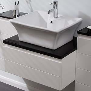 Countertop Sink Bathroom Basin Bowl White Ceramic Square: Amazon.co.uk ...