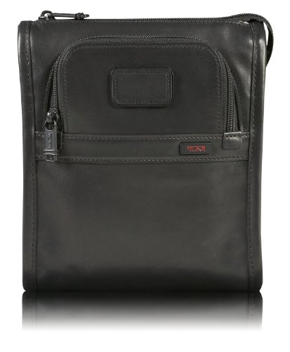 TumiTumi Luggage Alpha Leather Pocket Bag Small, Black, One Size
