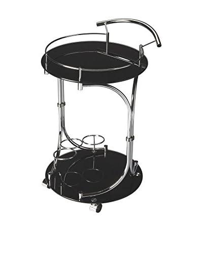 Butler Serving Cart, Black/Chrome