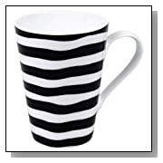 Konitz 13-Ounce Escapada Stripes Mugs, Black/White, Set of 4