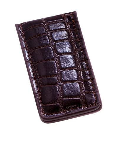 Bey-Berk Croco Leather Magnetic Money Clip, Brown