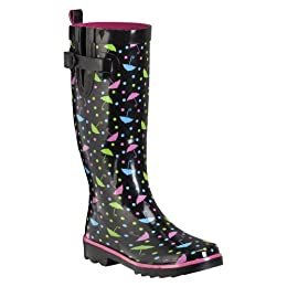 Product Image Women's Shiny Umbrellas and Dots Sporty Boot Black