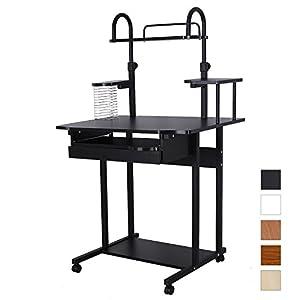 songmics bureau informatique table informatique meuble de bureau pour ordinateur noir lcd778b. Black Bedroom Furniture Sets. Home Design Ideas