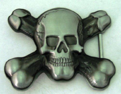 Skull Cross Bones Antique Finishing Men Women Bikers Belt Bucke.