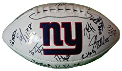 Super Bowl XLVI Champions New York Giants Team Autographed Logo Football with 31 Signatures Total, Proof Photos