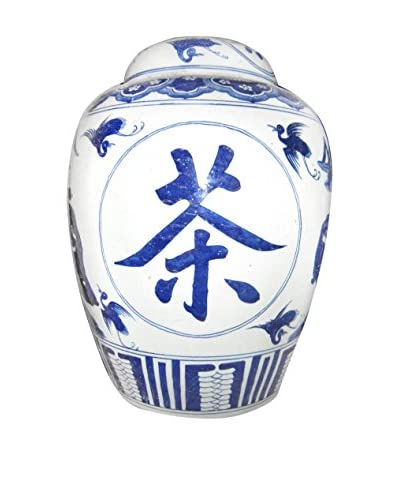 Calligraphy Vase with Brass Ring Handle, Blue/White