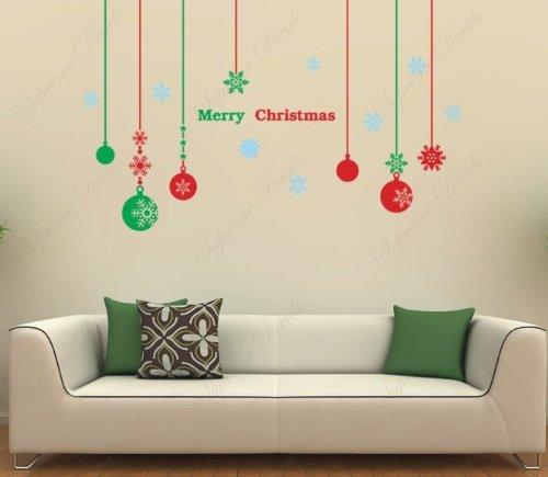 Christmas Decals - Christmas balls - Beautiful Tree Wall Decals for Kids Rooms Teen Girls Boys Wallpaper Murals Sticker Wall Stickers Nursery Decor Nursery Decals PDA-0063-FBA - 1