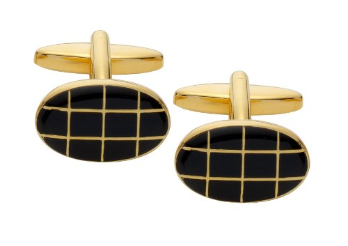 Code Red Gold Plated Oval Cufflinks with Black Enamel Checks
