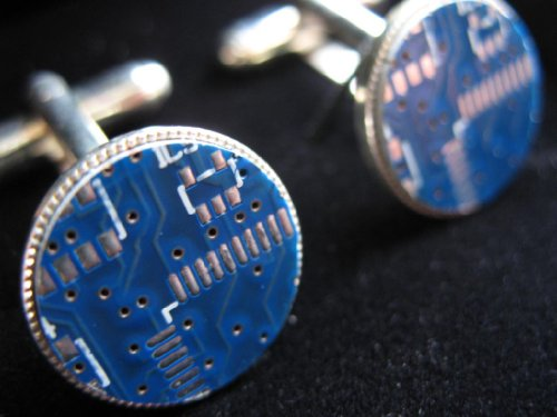 No1 GS - Original Electrickery Round BLUE Circuit Board Cufflinks - Silver Plated - Individual