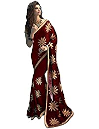 Fashions World Chiffon Saree With Embroidery Work - Maroon