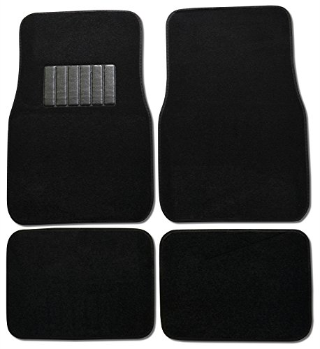 Bdk Carpeted 4 Piece Mat With Vinyl Heel Pad Car Vehicle Universal Fit (Black) front-17524