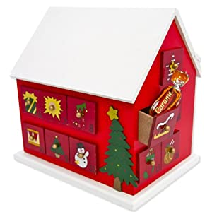 Christmas Classic Wooden Advent Calendar House with Numbered drawers
