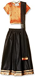 Atayant Girl Lehenga Choli (ATAYK_030_4:5YR_Orange and Black_L)