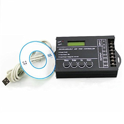 Wit-Lighting 5 Channel 20A Programmable Time Led Rgb/Single Color Strip Controller 12-24V Dc