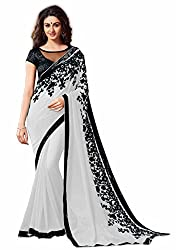 Women's Exclusive Grey Embroidery Work Georgette Sari with Blouse