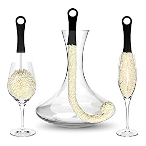 Bar AmigosTM Set of 3 - Decanter & Glassware Cleaning Brushes Glass Cleaning Brush For Cleaning Hard To Reach Areas Items Such as Wine Champagne Glasses Babies Bottles, Beer Steins, Neck Goblets, Reusable Water Sports Bottles, Stainless Steel Bottles and more