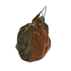 Brown & Forest Green Velvet Dice Bag (5x7)