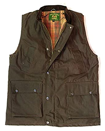 Countrywear New British Made Quilted Wax Gilet Branded Outdoor Bodywarmer Oiled Waistcoat Sleeveless Jacket Fishing Hunting Shooting Farming (Brown Small)