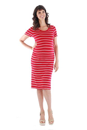 Everly Grey Women's Maternity Camila Scoop Neck Short Sleeve Ruched Dress, Red Stripe, Small Nautical Stripe Dress