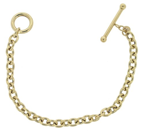 9ct Yellow Gold Oval Belcher T Bar 19cm Bracelet