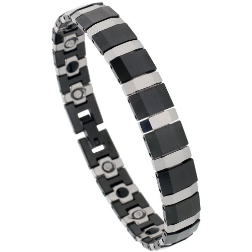 Sabrina Silver Tungsten & Ceramic 2-Tone (Black & Gun Metal) Magnetic Bar Bracelet, 7/16 in. (11mm) wide (BTN119)