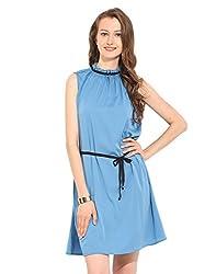 Blue Polyester Skater Dress X-Large