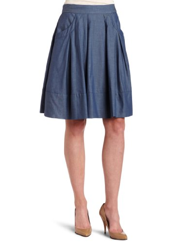 Calvin Klein Womens Chambray Flared Skirt, Dark Blue, 4