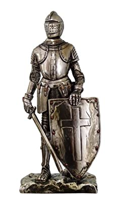 """Crusader Knight Statue Silver Finishing Cold Cast Resin Statue 7"""" (8718)"""