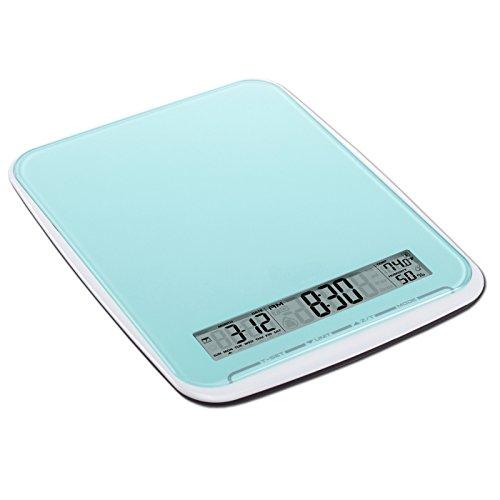 Balance de cuisine multifonction de XL avec surface en verre, pèse jusqu'à 10Kg, Touchbedienfeld, bleu