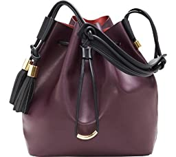 Vince Camuto Lorin Drawstring Shoulder Bag, Bordeaux/Graphite, One Size