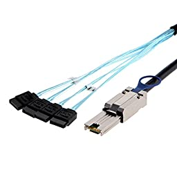 CableCreation External Mini SAS 26pin (SFF-8088) Male to 4x 7Pin Sata Cable, 2.0M