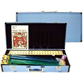 Western Mah Jong Game Set with Pink Aluminum Case Game Set and Ivory Tiles and Pushers/Racks
