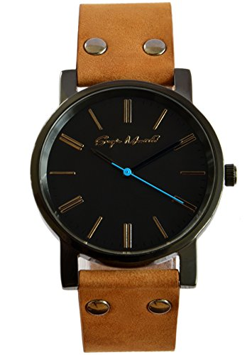 37f21c3ad Sergio Montell Men's Brown Nubuck Leather Strap Watch - Black Tone Black  Face - Simple and Minimalist Unisex Watch, Mens and Womens Leather Watch
