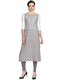 Ziyaa Women's Grey Colour Digital Print Crepe Kurti