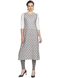 Ziyaa Women's Grey Colour Digital Print Crepe Kurti