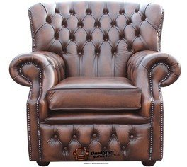Chesterfield Monjes Respaldo Alto Sillón, color marrón envejecido Sillón fabricado en Reino Unido
