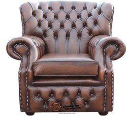 Chesterfield Monjes Respaldo Alto Sillón, color marrón envejecido Sillón fabricado en Reino Unido