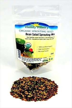 Bean Salad Sprouting Seed Mix- Organic- 1/4 Lbs (4 Oz.) - Mix of Bean Sprout Seeds: Adzuki, Mung Bean, Green Lentil & Radish. For Sprouting Sprouts, Soup, Food Storage