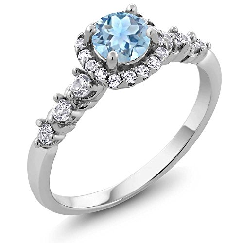0.87 Ct Natural Round Sky Blue Aquamarine and White Topaz 925 Sterling Silver Ladies Ring (Available in size 5, 6, 7, 8, 9) (Sterling Gem Rings compare prices)