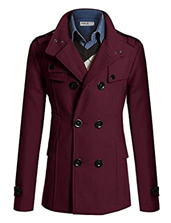 Doublju Mens Half Trench Coat WINE (US-S) at Amazon Men's Clothing