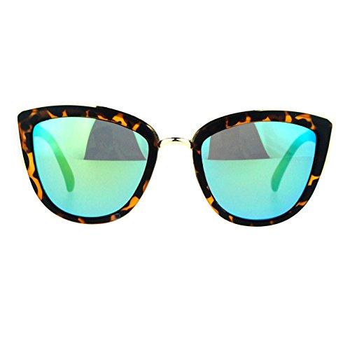 Image of SA106 Womens Color Mirror Revo Lens Oversize Cat Eye Sunglasses Tortoise Teal
