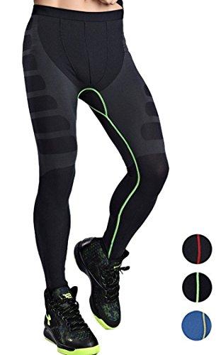 スポーツ タイツ コンプレッション ウェア [ 吸汗 速乾 ] インナー パンツ 【InField】 (グリーンライン, L)