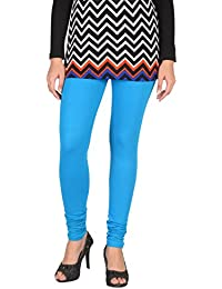 Splendora Skinny Fit Viscose 4 Way 4 Way Stretchableable Full Length Leggings Phiroza Blue V Cut Free Size