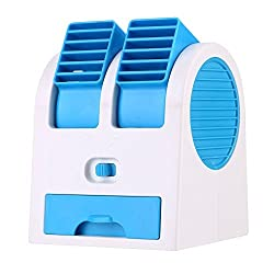 Yosoo Portable Dual Bladeless Mini Desktop USB Fan Scented Air Conditioning Air Cooler - 6 Colors Available Orange Blue