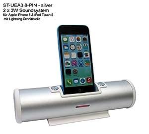 Soundsystem für Apple Iphone 5 iphone 5G iphone 5S und ipod Touch 5 mit 8-Pin Lightning Anschluss - Hifi- Soundtube Micro Stereo Dockingstation Audiosystem Anlage mit Fernbedienung & Lautsprecher 2 x 3 Watt - batteriebetieb 6 Stunden Playback -Farbe silber/ weiss