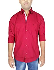 AA' Southbay Men's Maroon 100% Cotton Lycra Long Sleeve Casual Shirt