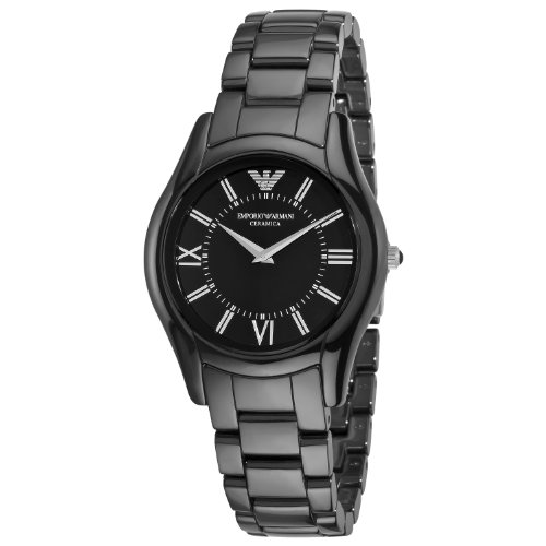 Emporio Armani Women's AR1441 CeramicSlim Black Dial Watch