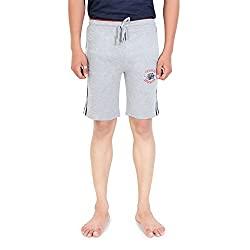 Bongio Mens Cotton Casual Shorts (Gray, Large)