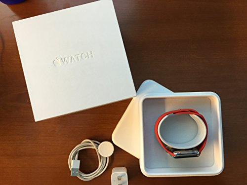 Apple Watch Sport 42mm Stainless Steel Case with Red Sport Band
