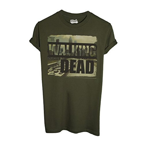T-Shirt THE WALKING DEAD CITY SKYLINE - FILM by Mush Dress Your Style - Uomo-M-Verde Militare